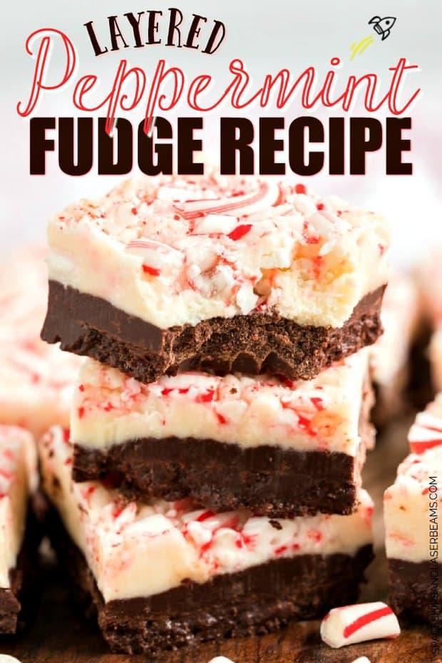 Layered Peppermint Fudge | 20+ Easy Christmas Dessert Recipes | The Best Blog Recipes
