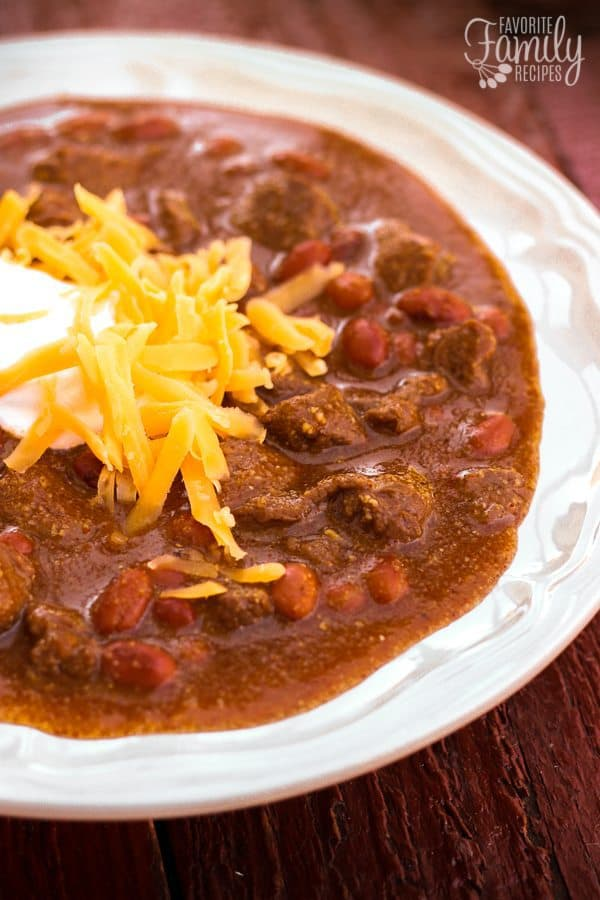 This Texas Chili is a hearty beef chili that will warm you up (and fill you up) on cold days. The large chunks of beef are melt-in-your-mouth tender!