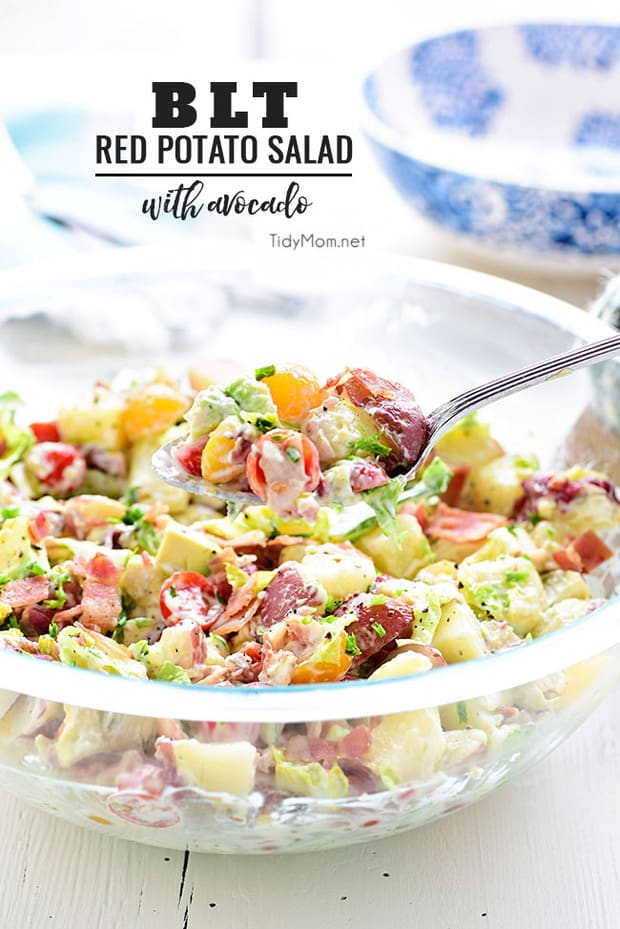 This easy Red Potato Salad  has an avocado ranch dressing along with bacon, lettuce and tomato! It's a simple crowd-pleasing side dish for any size gathering