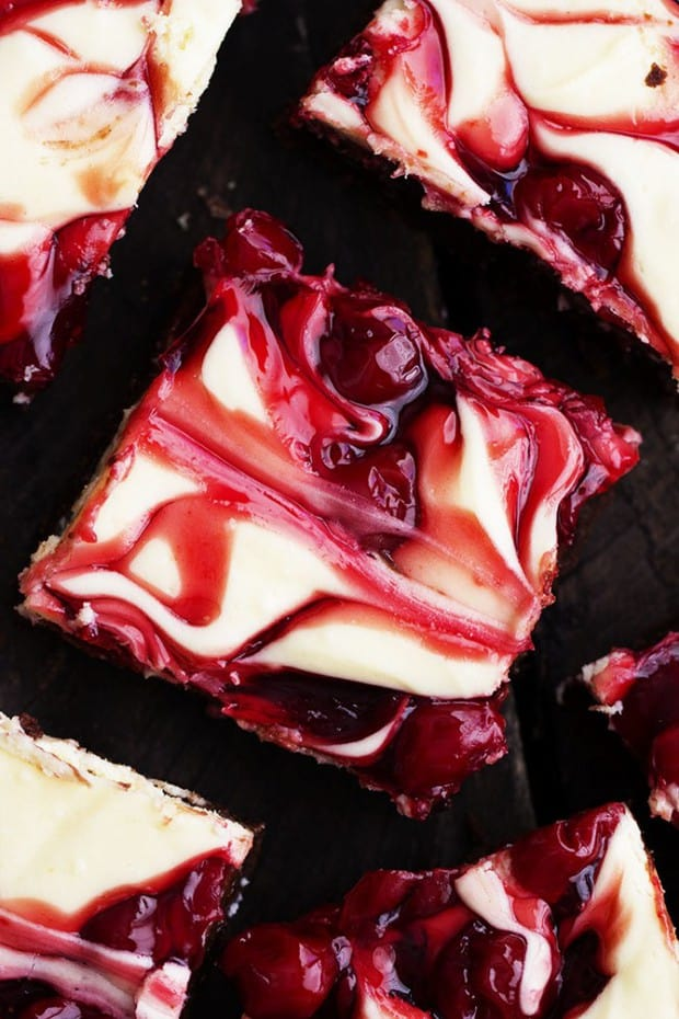Fudgy brownies with cheesecake and premium Lucky Leaf pie filling swirled on top!  These brownies are rich and creamy and have three delicious desserts in one!