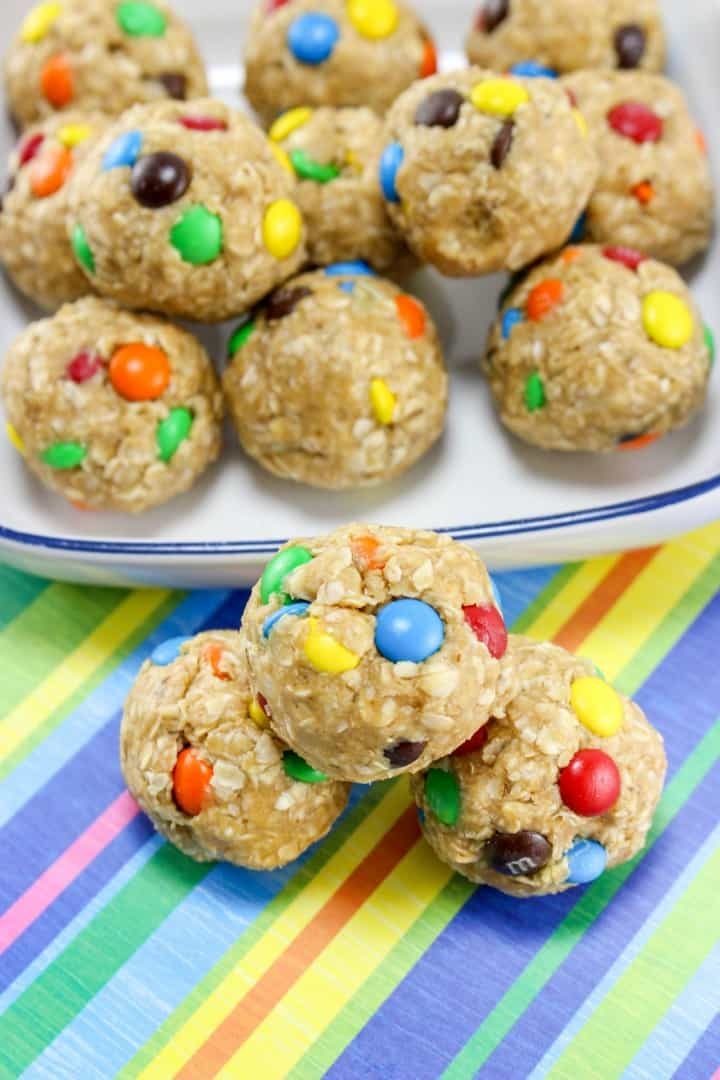 No Bake Monster Cookie Oatmeal Energy Balls-- Part of M&M Monster Dessert Recipes that your kids will love!