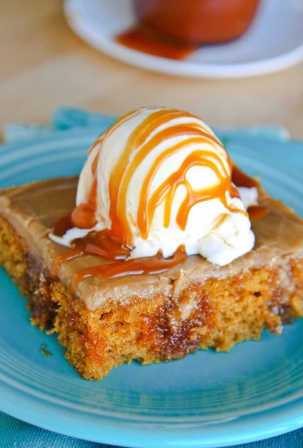 This easy and delicious pumpkin poke cake is a perfect fall dessert!