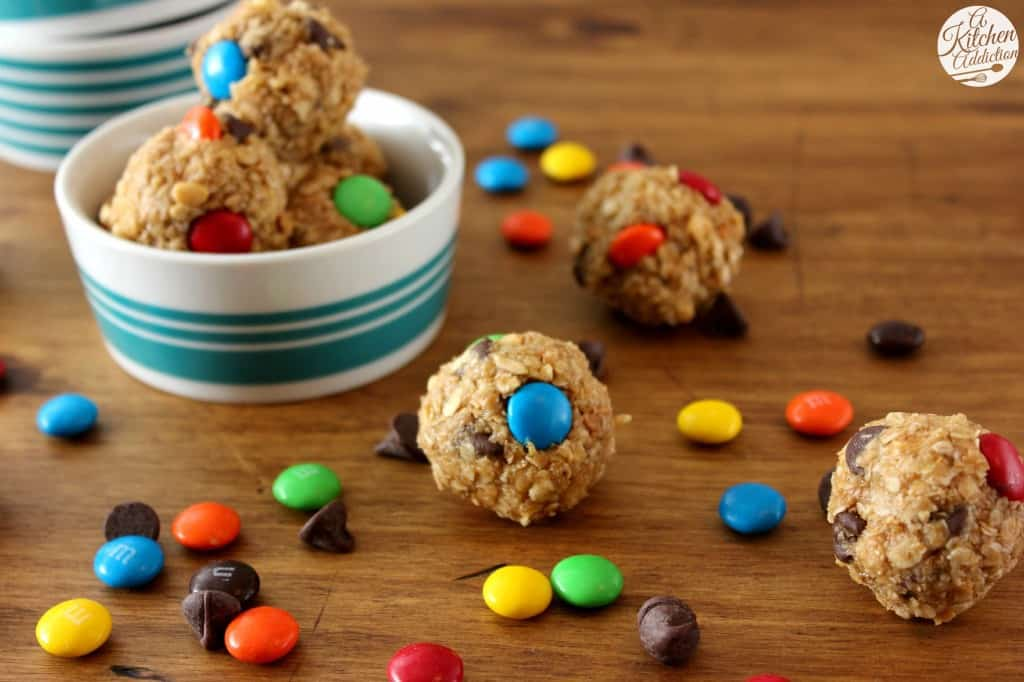 Monster Cookie Granola Bites-- Part of M&M Monster Dessert Recipes that your kids will love!