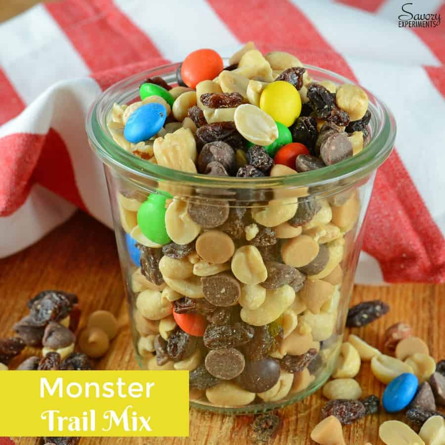 Monster Trail Mix is an easy trail mix of nuts, m&ms, raisins and chips. The perfect snack for camping, hiking or an afternoon by the pool.