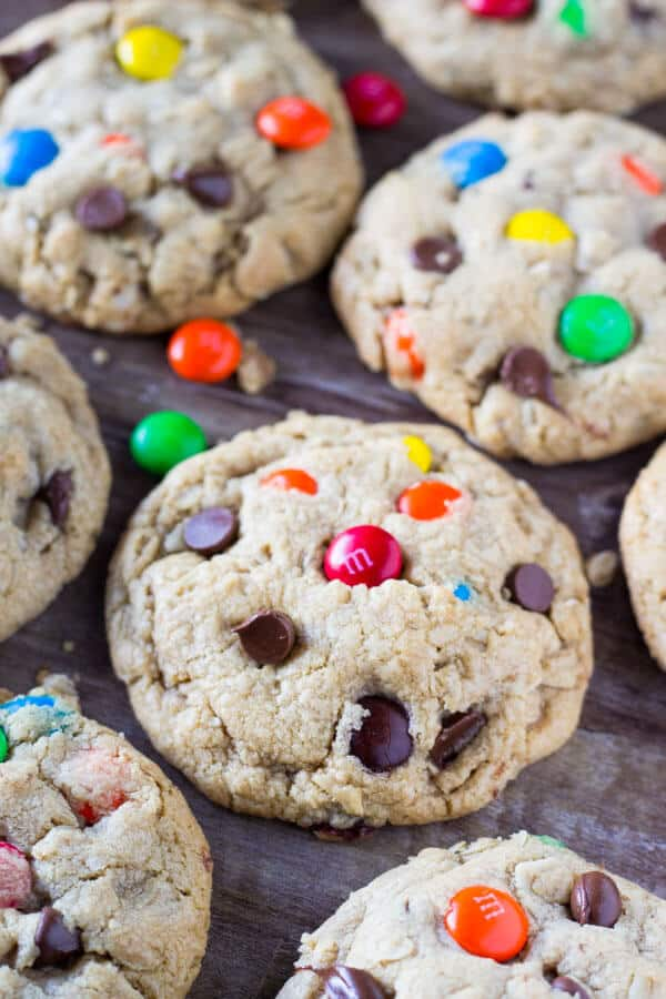 These Soft and Chewy Monster Cookies are filled with peanut butter, chocolate chips, oatmeal AND M&Ms. Seriously… everything you could ever want in a cookie!