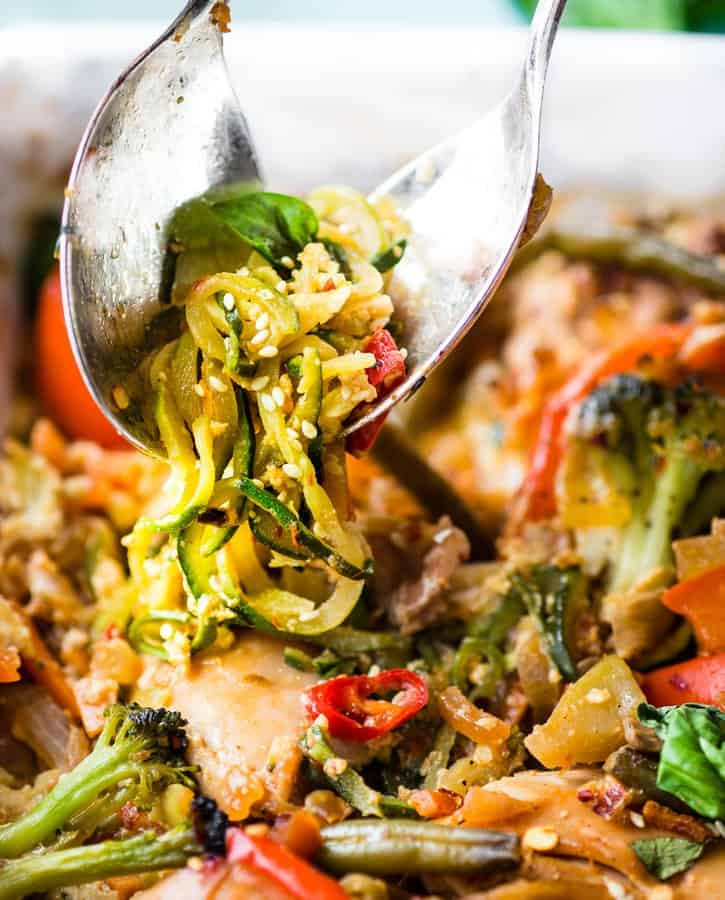 Drunken Chicken ZoodleCasseroletakes a spin on the originalPad kee mao Asianstir fry and puts it in casserole form. Apaleo zucchini noodlecasserolewithtons of flavor, Thai spices, and simple healthy ingredients! A delicious, light, high protein,low carbrecipe.