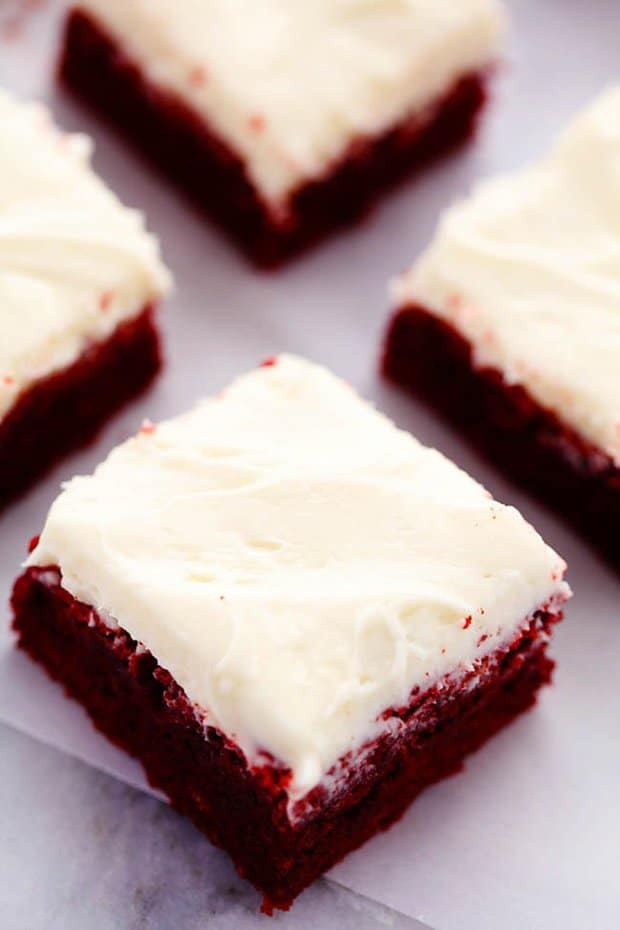 Red Velvet Brownie with Cream Cheese Frosting -- Part of the Best Red Velvet Recipes