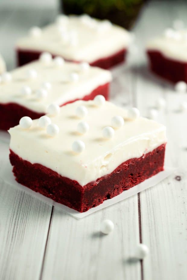 Red Velvet Cookie Bars with Cream Cheese Frosting -- Part of the Best Red Velvet Recipes