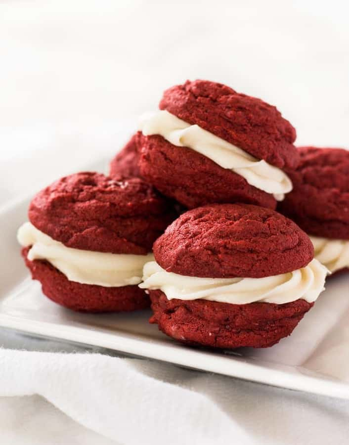 Red Velvet Sandwich Cookies -- Part of the Best Red Velvet Recipes