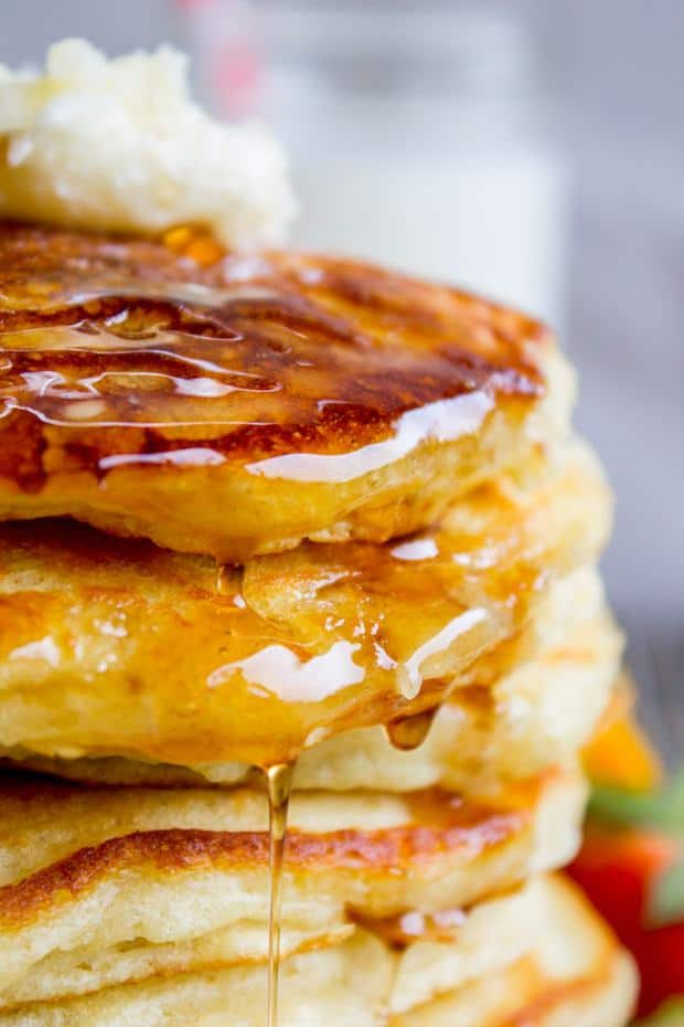 EUREKA! Guys, I'm not even kidding when I say I've been looking for this buttermilk pancake recipe for my entire life. They are fluffy, crispy on the edges, tender in the middle, and completely stackable. The search is over!!