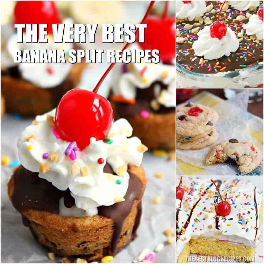 We are so excited to share The Best Banana Split Recipes! These desserts are to die for! Each is a spin on everyone's favorite classic banana split!