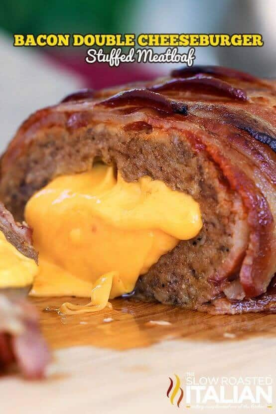 Bacon Double Cheeseburger Stuffed Meatloaf is bursting with bold steak flavors! Just the thought of the ultimate comfort food is just about enough to make my mouth water, but stuffing it with cheese and covering it in the delicious brown sugar ketchup glaze and layered thick cut bacon put this recipe over the top!!!