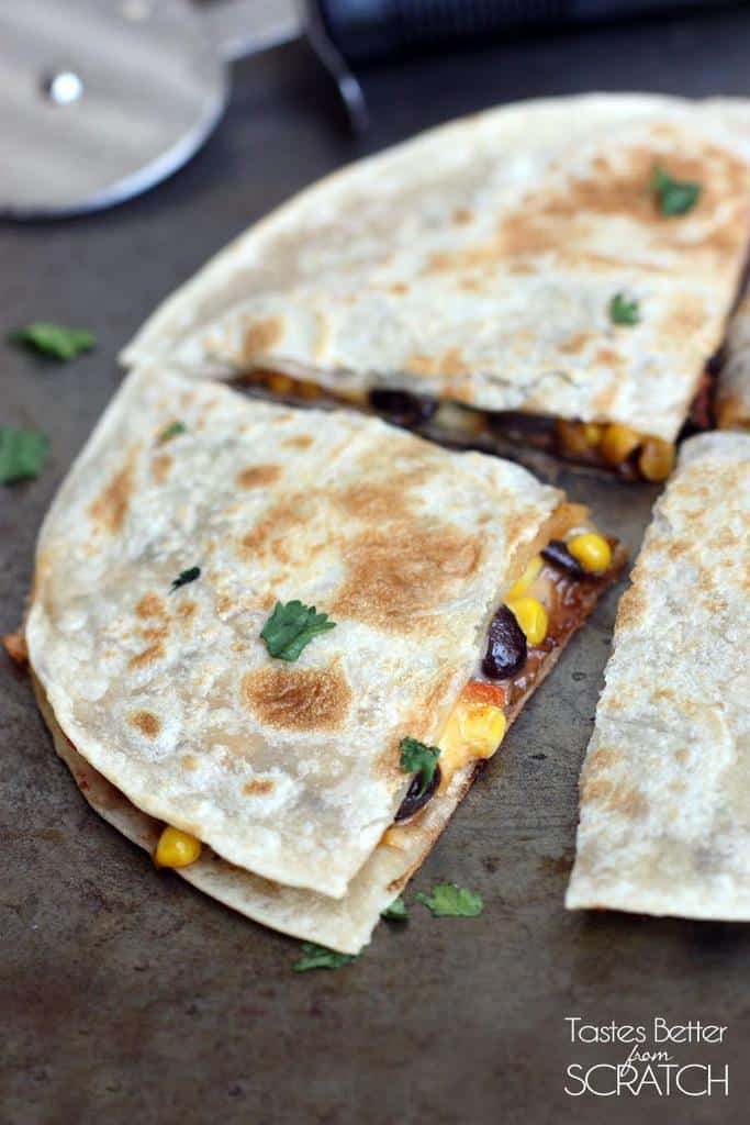 Cheese tortilla filled with a delicious black bean and corn mixture.