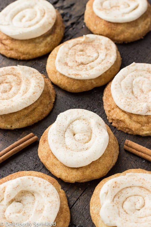 These Eggnog Snickerdoodle Cookies are soft, thick and full of cinnamon topped with a delicious Eggnog frosting.