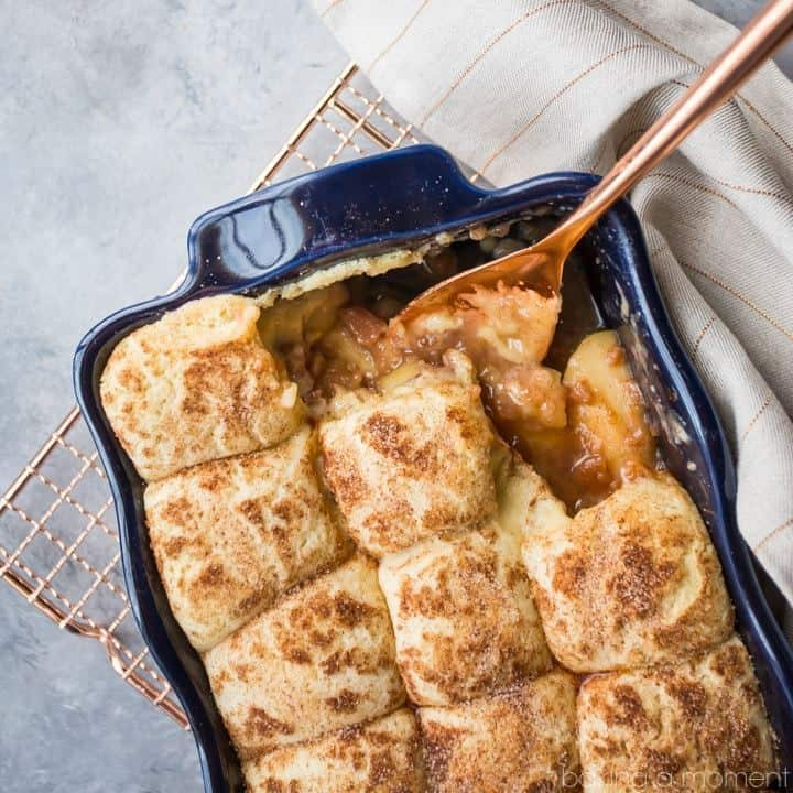 If you're craving comfort, look no further than this snickerdoodle apple cobbler! It tastes delicious, and it's easy to make!