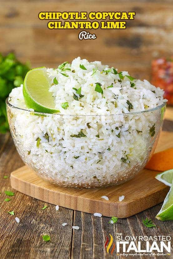Chipotle Copycat Cilantro Lime rice is a simple recipe that is sure to become a staple in your house. It is perfectly soft and sticky with a nutty, floral aroma. It has fresh cilantro speckled throughout and a bright flavor from citrus that makes this an incredible side dish that you are going to make again and again!