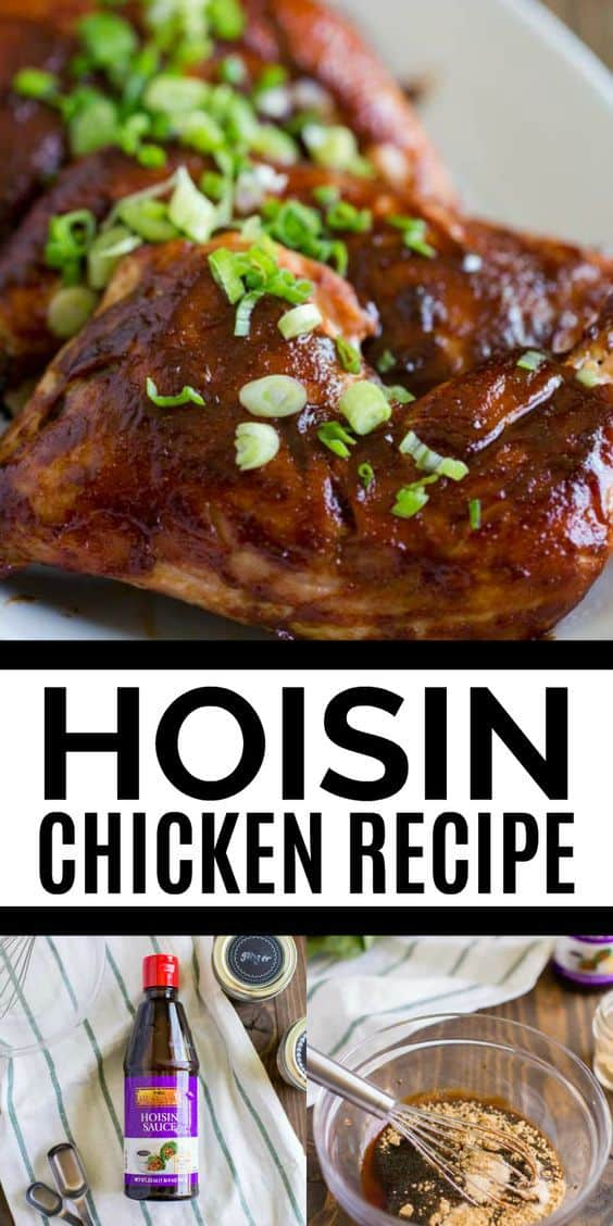This easy, delicious hoisin chicken recipe is the best in Asian inspired cuisine! The chicken is so moist, juicy and will leave your house smelling amazing. This is an easy to make recipe perfect for any weeknight dinner!