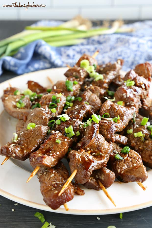 Best Ever Korean Barbecue Beef Skewers are made with a super simple marinade and grilled to perfection with that classic Korean Barbecue-inspired flavour!
