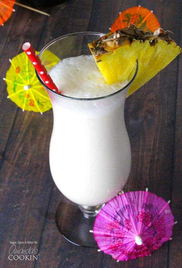 Nothing says summer like this refreshing Pina Colada recipe from Amanda's Cookin! This drink is a delicious classic that is bursting with fresh summer flavors. Forget those mixes at the store and try this homemade recipe instead!