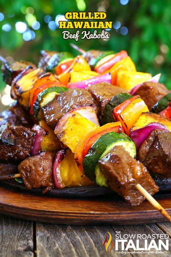 These Grilled Hawaiian Beef Kabobs from The Slow Roasted Italian are such an amazing yet simple recipe that is perfect for summertime grilling! They have your favorite island flavors that pair perfectly with the tender beef, glorious marinade, juicy pineapple and a rainbow of perfectly cooked vegetables!