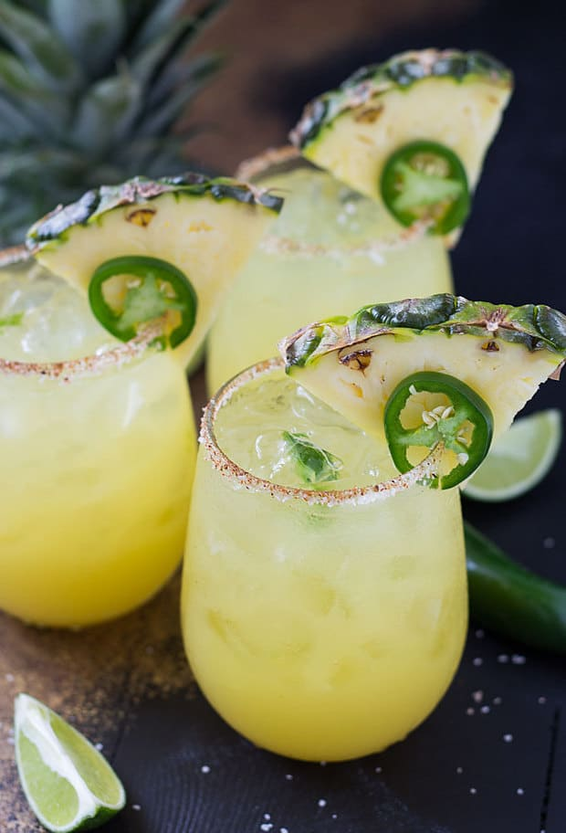 A muddled jalapeño slice with pineapple juice, triple sec, lime juice and Patrón Silver is sweet, savory, tart… and well… just absoluely amazing!