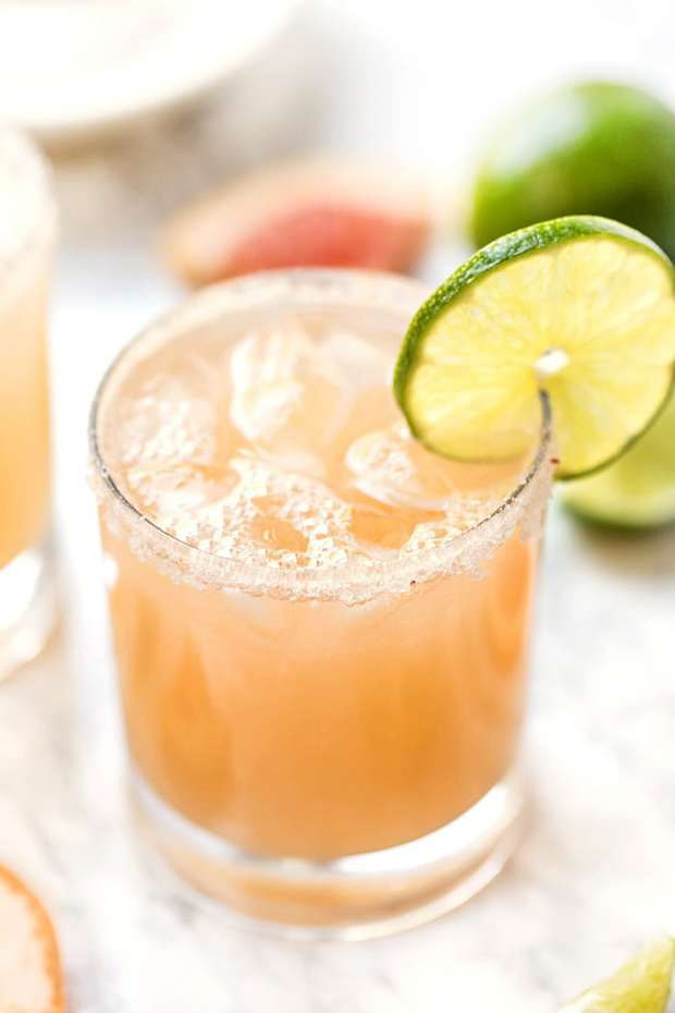 Healthy Grapefruit Margaritas use just 4 ingredients, are ready in 10 minutes and have NO added sugar! They're a fun twist on the skinny margarita!