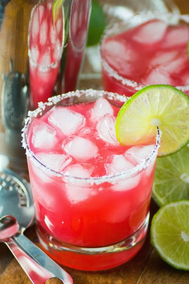 Tangy and not too sweet is how I like my margaritas! These have the perfect proportions of tequila, lime, Cointreau and rhubarb syrup.