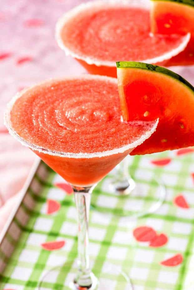 A frozen watermelon margarita is a perfect way to enjoy this summer-loving fruit! Easy to make and deliciously sweet, this drink can be made in advance and does not include ice so it will never water down!