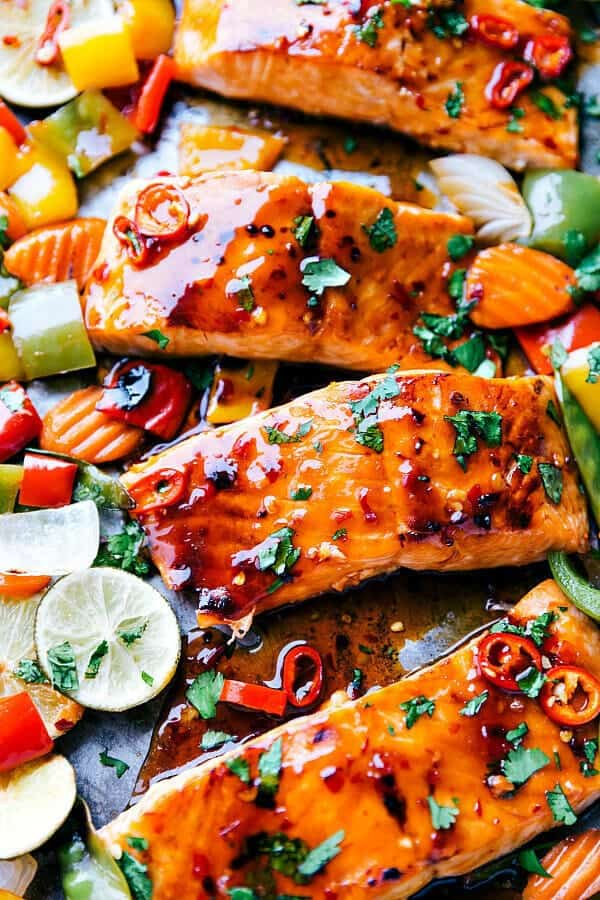 ThisSheet Pan Thai Glazed Salmon with VegetablesfromThe Recipe Criticis an incredible all in one meal with the best flavor! Melt in your mouth Salmon gets glazed with a sweet thai sauce and surrounded by crisp and tender veggies! This meal is a winner every single time!