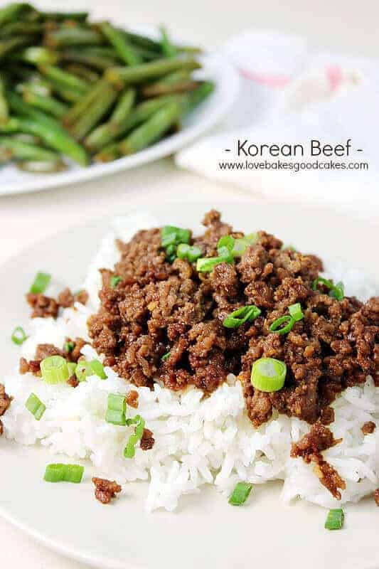 This Korean Beef recipe from Jamie over at Love Bakes Good Cakes is the perfect weeknight dinner that is easy to make, super flavorful, and budget friendly too! It is served over rice and topped with green onions for a meal that you can quickly prepare when you don't have a ton of time to cook.  Serve it with your favorite vegetable on the side and you have a meal that your family will really love!