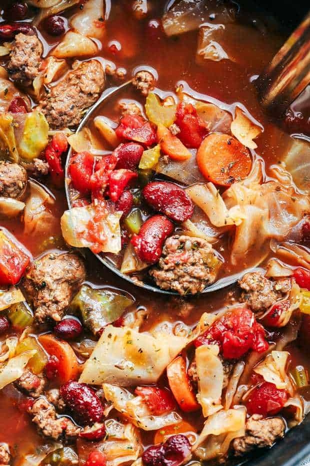 Beef and Cabbage soup is so hearty and filled with beef and tons of amazing and tender veggies. This soup is healthy and delicious and full of flavor!