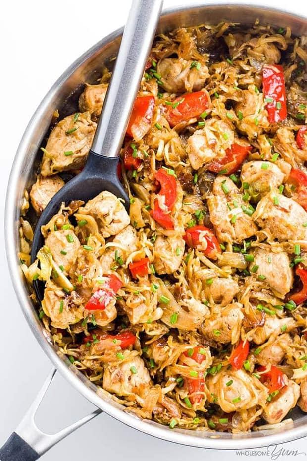 This 15-minute chicken cabbage stir fry recipe makes a quick & easy dinner everyone will love. Naturally low carb, paleo, & whole 30 - but so delicious!