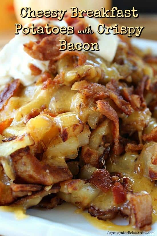 These cheesy breakfast potatoes with crispy bacon are great served with fried eggs, and biscuits and gravy. If you make gravy, smother these potatoes with it. You will definitely be eating comfort food at it finest.