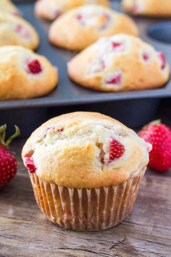 These soft, buttery strawberry muffins have perfectly golden tops and are bursting with strawberries. They can be made with fresh or frozen strawberries and are perfect for breakfast or brunch..