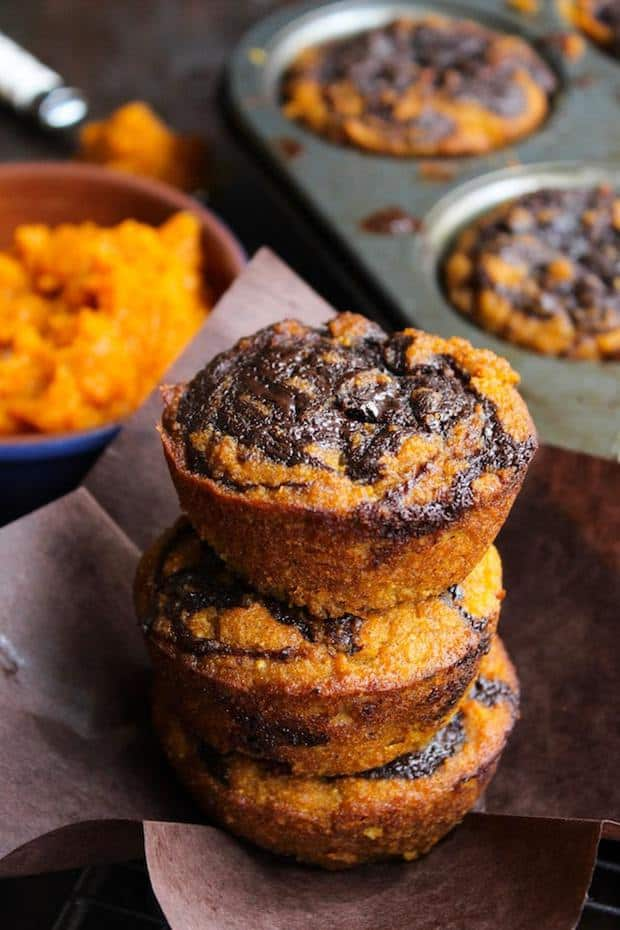 Paleo Pumpkin Muffins with a Chocolate Swirl Top – a simple, one bowl recipe perfect for the perfect fall treat | gluten free + grain free + dairy free