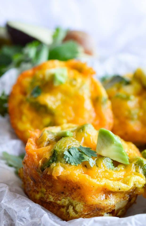 The perfect brunch recipe is easy, satisfying, flavorful and nutritious. These Cheesy Avocado Egg Muffins are all of those things!