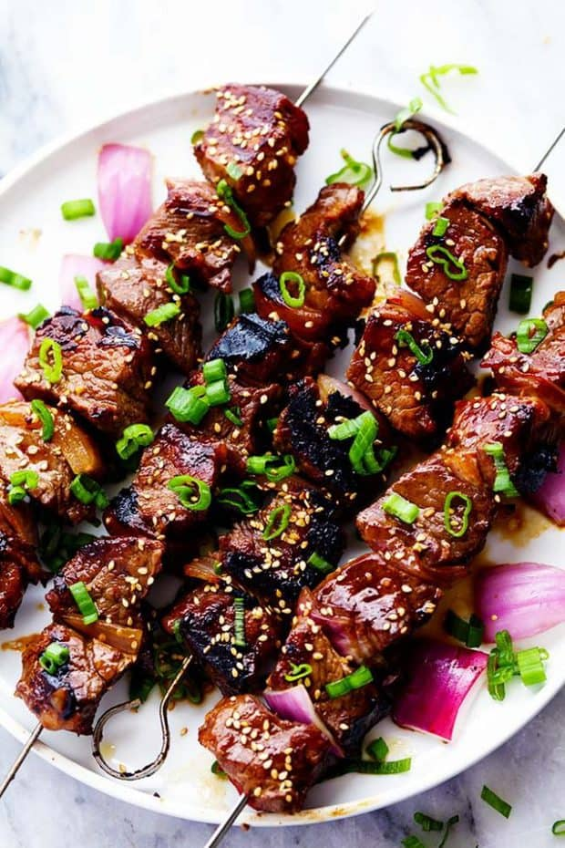 Grilled Asian Garlic Steak Skewers