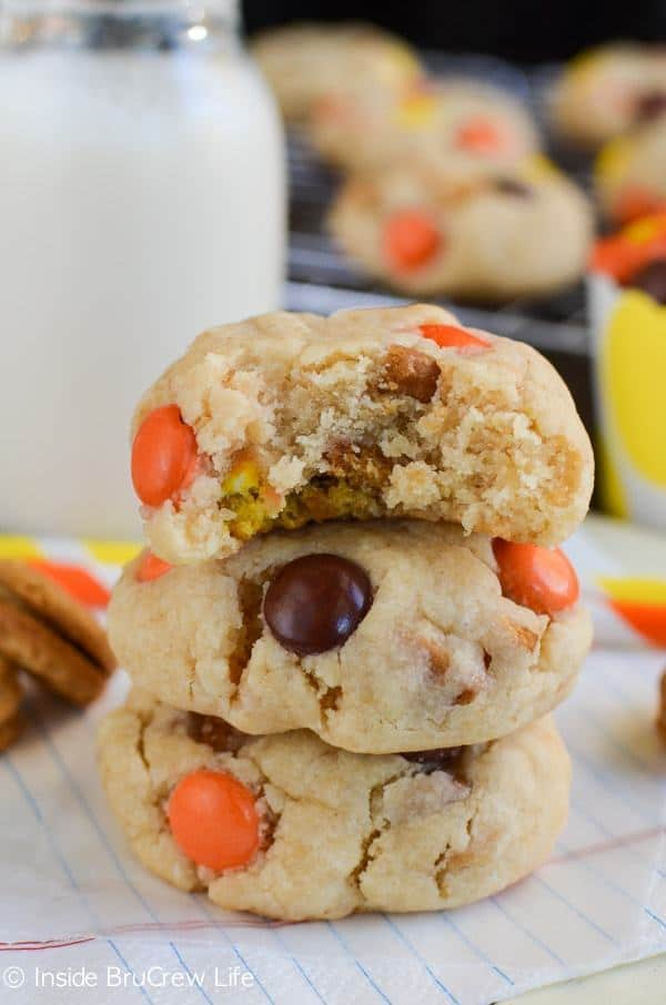 Adding extra cookie chunks and candies make these Nutter Butter Reese's Pieces Cookies a fun treat to find in the cookie jar.