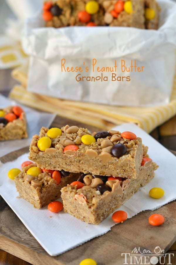 These easy no-bakeReese's Peanut Butter Granola Barsare hard to resist for kids and adults alike! Packed with delicious peanut butter flavor and topped with Reese's Pieces, these bars are truly eye candy!