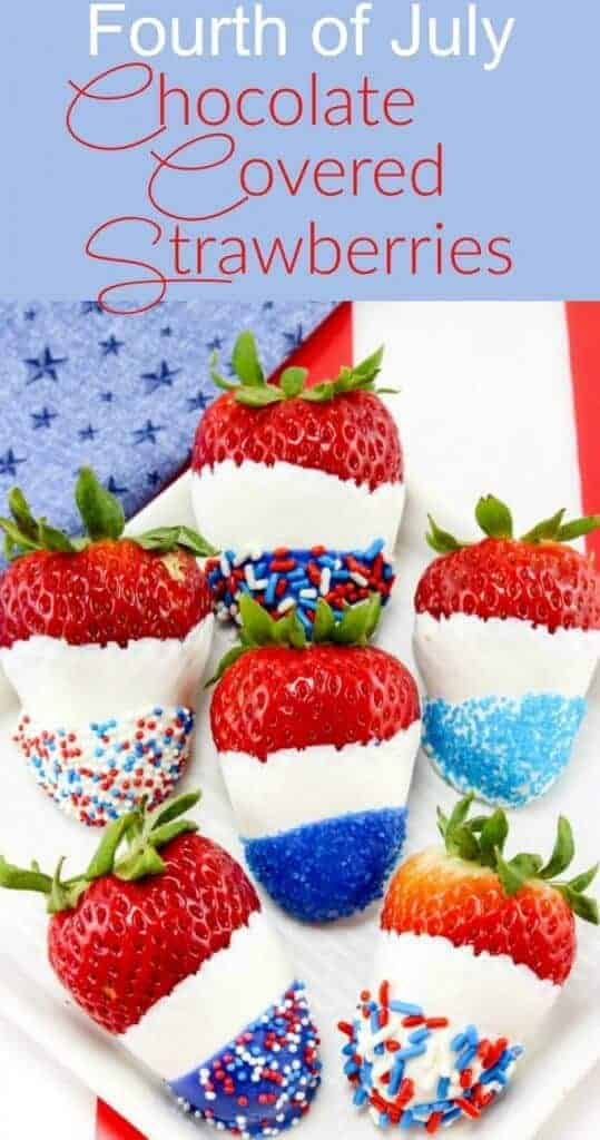 Fourth of July, Memorial Day and Labor Day – these Red, White and Blue Chocolate Covered Strawberries will be the perfect way to celebrate these patriotic holiday's!
