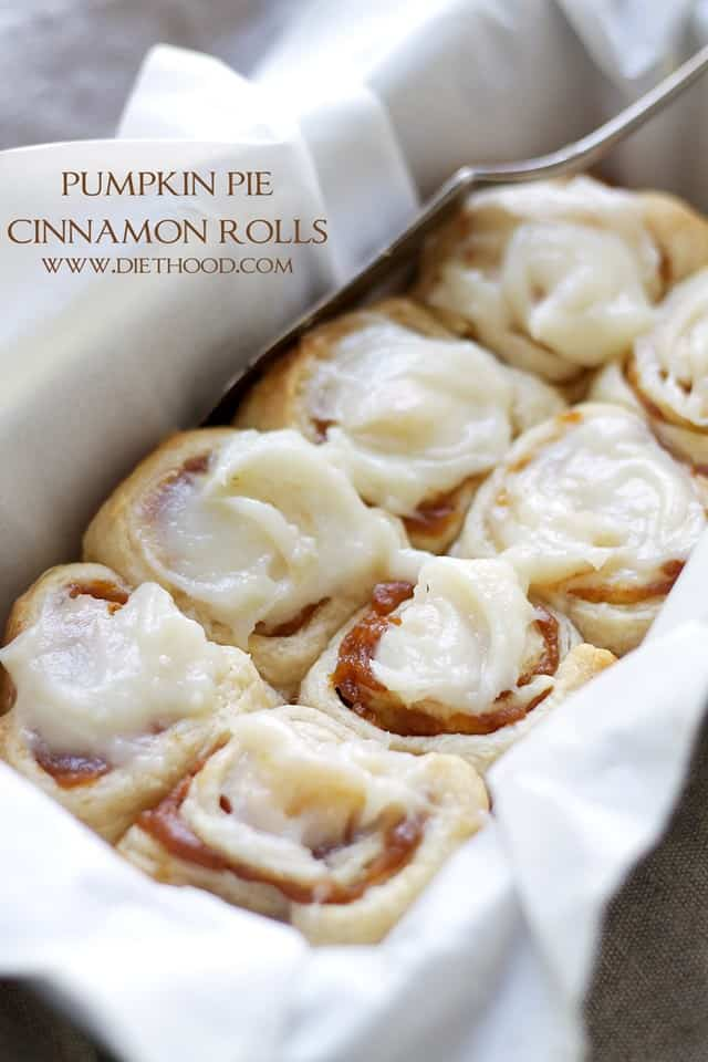 Pumpkin Pie Cinnamon Rolls – Cinnamon Rolls in under one hour made with refrigerated dough, a delicious pumpkin filling, and an incredible pumpkin pie spice cream cheese frosting!