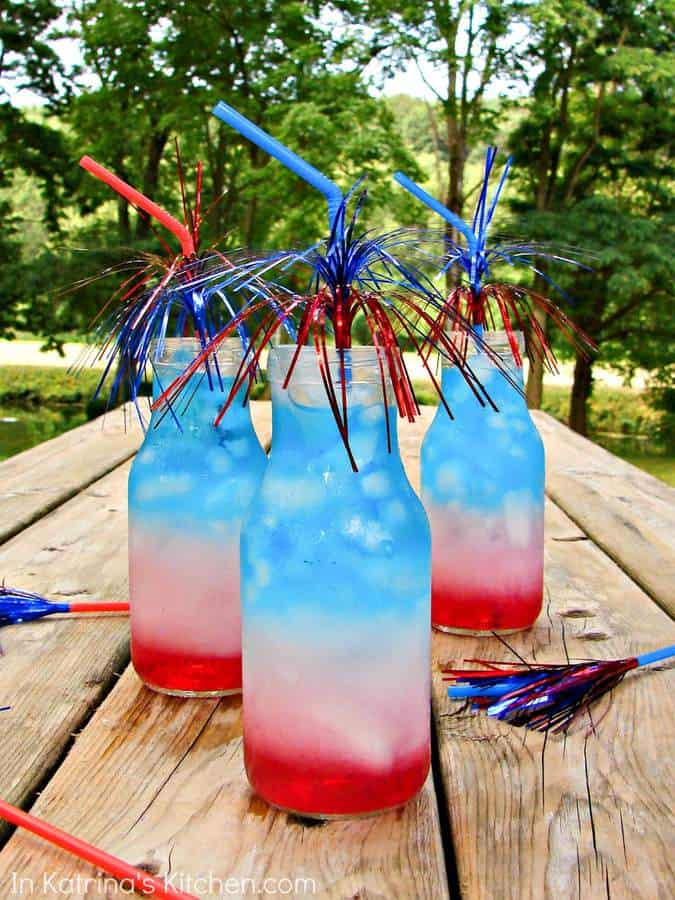 Layered drinks in red, white, and blue- perfect for 4th of July! Non-alcoholic and kid-friendly for your next party!