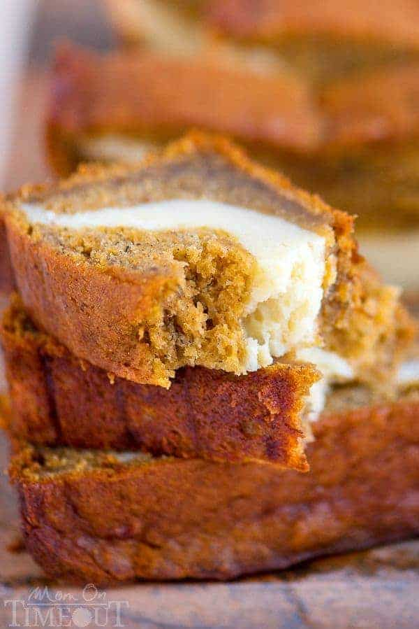 This Pumpkin Cheesecake Banana Bread is perfect for dessert but also doubles as an amazing breakfast…or snack…or lunch. It's pretty amazing no matter what time you eat it! Ultra moist and bursting with pumpkin flavor!