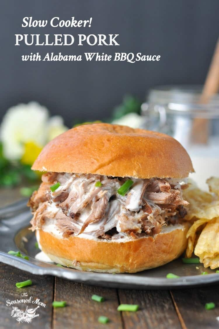 Need an easy dinner recipe that you can prep in 10 minutes and then leave to cook all day while you head off to work? This Slow Cooker Pulled Pork with Alabama White Barbecue Sauce is a simple Crock Pot meal that's perfect for busy weeknights or potluck parties with friends!