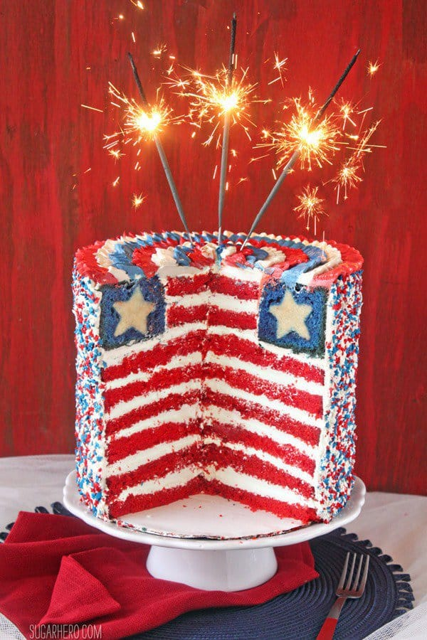 When you want to go big, this American Flag Layer Cake is the cake for you! This ultra tall cake mimics the American Flag on the inside with layers of red and white stripes and even a white star baked right inside. It feeds a big crowd so it's perfect for barbecues or Fourth of July celebrations.