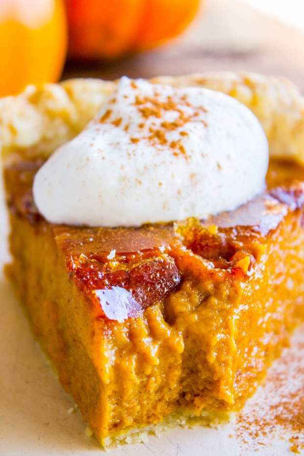 This is literally the best pumpkin pie you will ever have! It's a perfect pumpkin pie recipe to begin with, but then we go and blow torch it to get that crackly crème brulée topping. Guys. I thought I wasn't a pumpkin pie lover, but I was WRONG!!