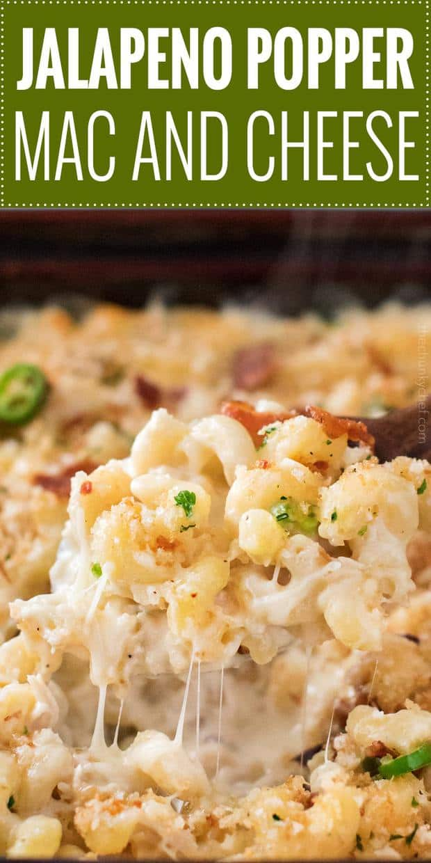 This tasty baked Mac and cheese recipe is bursting with bold jalapeño popper flavors!