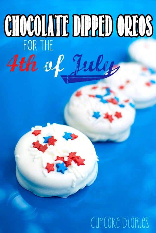 Celebrate the Fourth of July with Oreo cookies covered in chocolate and festive sprinkles! This easy recipe is great for parties and BBQ's.