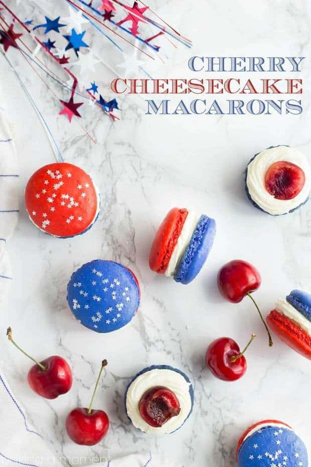 Red, White, and Blue Cherry Cheesecake Macarons are the perfect dessert for a Memorial Day or Fourth of July party!  The colors are so fun and festive, and perfectly patriotic.  And you'll love the combination of sweet almond, tangy cream cheese, and fresh summer cherries!