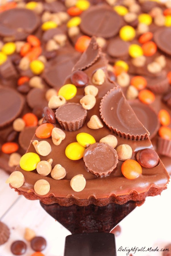 The ultimate dessert pizza for any chocolate and peanut butter lover! Loaded with REESE'S Pieces, Peanut Butter Cups, Mini's, Peanut Butter Chips, and a chocolate peanut butter frosting, this brownie is the perfect snack time treat!